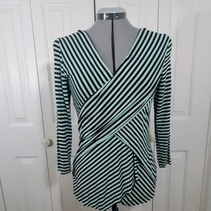 VINCE CAMUTO Green & Black Blouse Size M